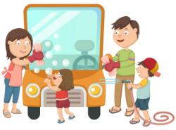 Family Car Washing